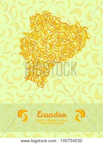 Equador map made of bananas. Veggie illustration. Seamless pattern.