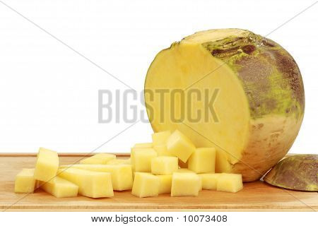one fresh cut turnip(Brassica rapa rapa)