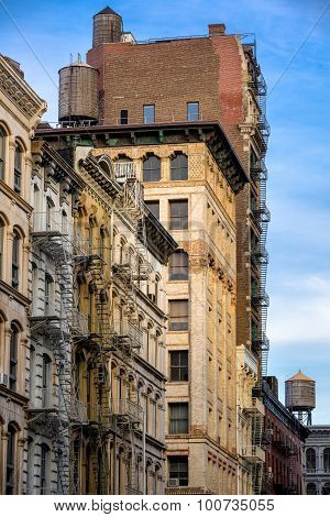 Soho Loft Buildings With Fire Escape And Water Towers, Manhattan