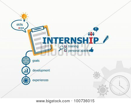 Internship Concept And Notebook For Efficiency, Creativity, Intelligence.