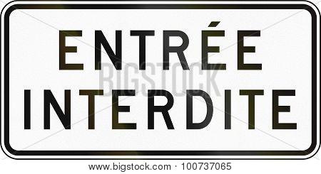Entry Forbidden In Canada
