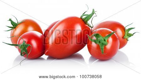 Fresh tomatoes with green leaves. Isolated on white background
