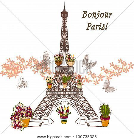 Vector Eiffel Tower And Potters Fully Of Flowers. Boutique Banner Or Card