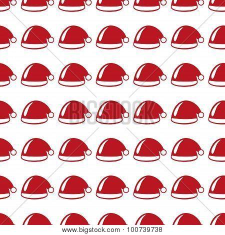 Santa Claus Cap Seamless Pattern. Vector