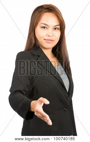 Profile Asian Woman Looking At Offer Handshake V