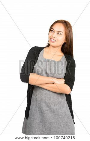 Smiline Thinking Asian Woman Looking Copy Space