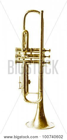 Golden trumpet isolated on white