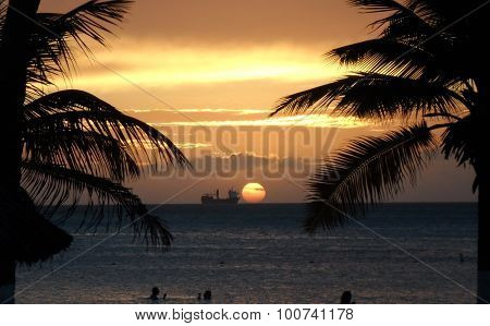 Sunset with palmtrees and a boat