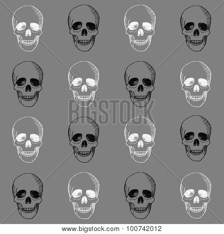 Hand drawn pattern with skulls