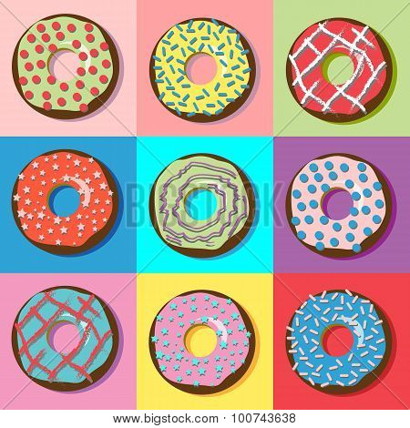 Donuts With Various Filling And Sprinkles.