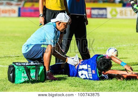 Sisaket Thailand-june 21: First Aid Team Of Royal Thai Navy Fc. (light Blue)