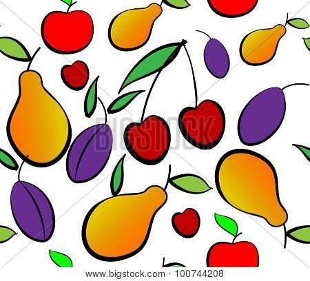Pears, Plums And Cherry Seamless Pattern.