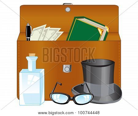 Open briefcase and subjects