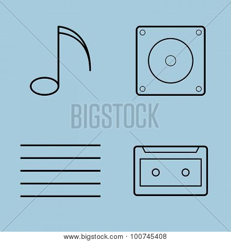 Music Line Icon Set