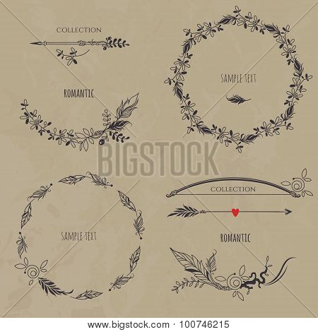 Rustic Collection. Set of wreaths, borders, arrows and bow.
