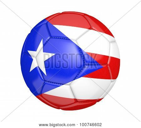 Football, also called a soccer ball, with the national flag colors of Puerto Rico