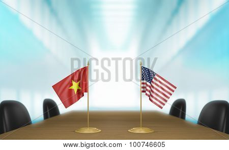Vietnam and United States relations and trade deal talks 3D rendering