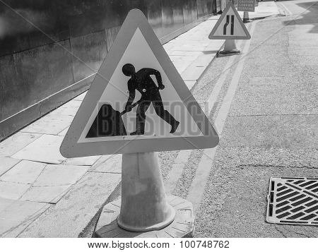 Black And White Roadworks Sign