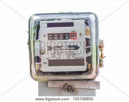 Watt Hour Electric Meter Measurement Tool Home Use Front View Isolate White Background With Clipping