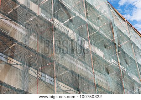 Restoration Work Of Facade Under Green Net