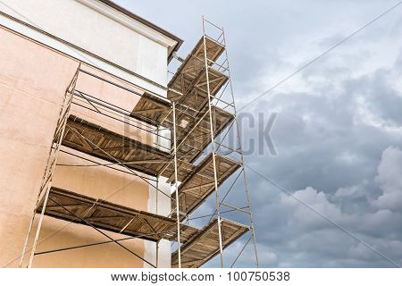 Scaffolding On A Building Renovation