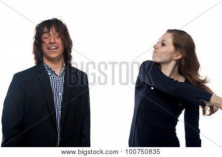 Blond woman slaping man