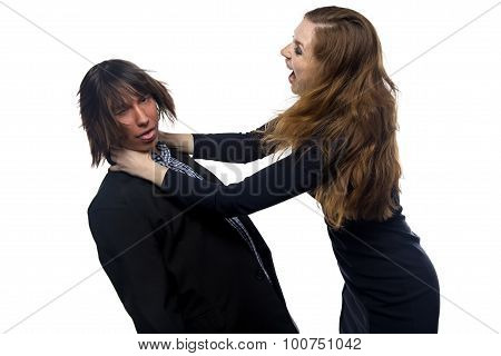 Aggressive blond woman and man
