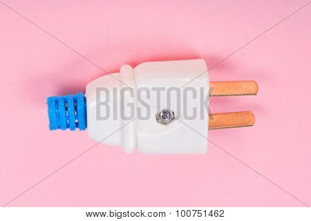 American Outlet Plug On Pink Background