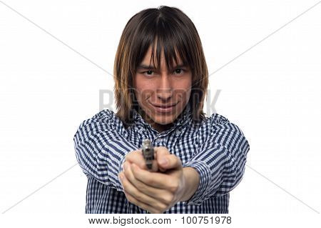 Brunette young man with the gun