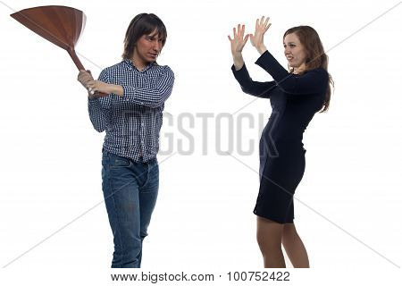 Man with balalaika and woman
