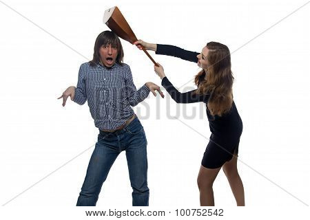 Angry woman with balalaika and man