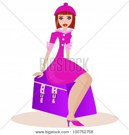 Woman with travel case.