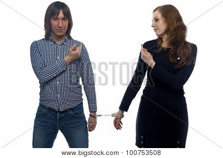 Man and woman with middle fingers