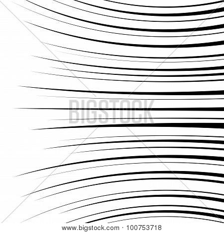 Comic Horizontal Curved Speed Lines Background