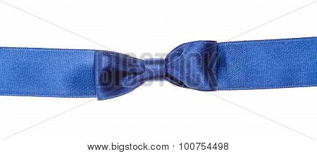 Real Blue Bow Knot On Wide Silk Ribbon Isolated