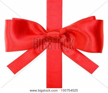 Real Red Bow With Square Cuts On Vertical Ribbon