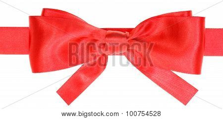 Real Red Satin Bow With Square Cut Ends On Ribbon