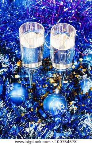 Above View Goblets In Blue Xmas Balls And Tinsel