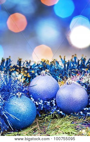 Christmas Blue Balls On Blurred Blue Background