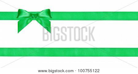 One Green Bow Knot On Two Parallel Silk Ribbons