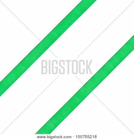 Two Diagonal Parallel Green Satin Bands Isolated