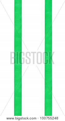 Two Parallel Vertical Satin Ribbons Isolated