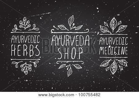 Ayurveda product labels.