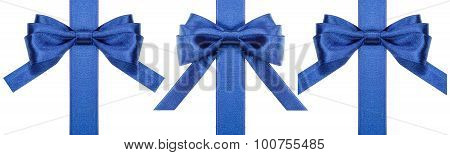 Set Of Silk Blue Bows On Vertical Ribbons Isolated