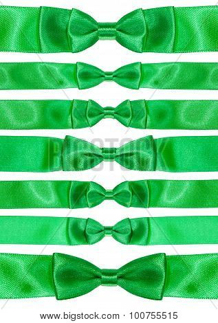 Set Of Symmetric Bow Knots On Green Satin Ribbons