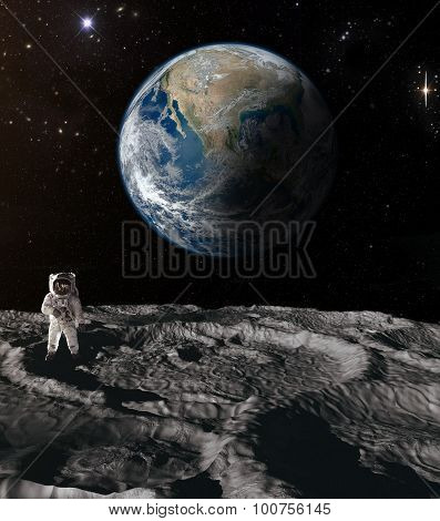 Astronaut on the moon.