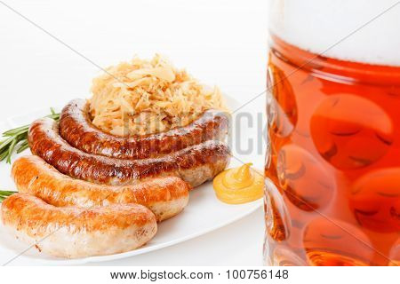 Oktoberfest Menu, Beer Mug, A Plate Of Sausages And Sauerkraut