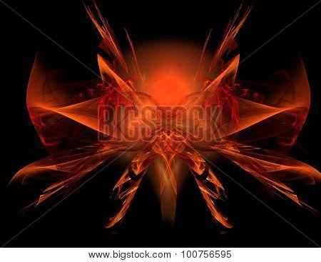 Abstract fractal orange symmetrical shape.