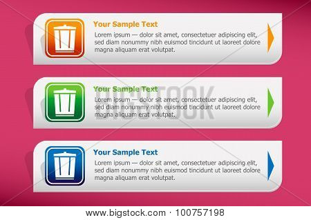 Colourful Recycle Garbage Can And Design Template Vector.