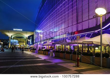 The Newly Created Galeria Katowice And Railway Station  In Katowice, Poland.